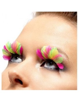False eyelashes 80s neon feather theatrical drag fancy dress costume retro party smiffys 34999
