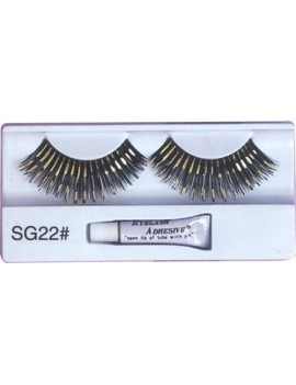 False eyelashes black and gold Christmas panto  dame fancy dress costume party Pamarco SG22