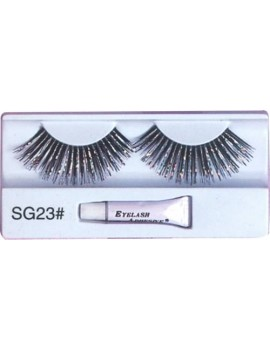 False eyelashes black and silver Christmas panto dame fancy dress costume party Pamarco SG23