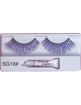 False eyelashes blue and silver hologram theatrical drag Christmas panto fancy dress costume party Pamarco SG18