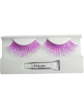 False eyelashes fushia pink and silver hologram fancy dress Christmas panto costume party Pamarco SG26