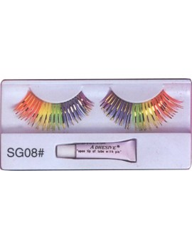False eyelashes rainbow multi light fancy dress costume party panto Dame accessory Pamarco SG08