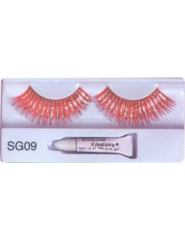 False eyelashes red and silver hologram fancy dress costume Christmas panto party Pamarco SG09