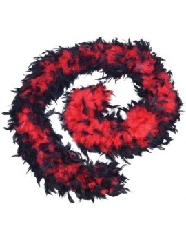 Feather boa red black Bristol Novelty  BA1674