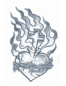 Prison Heart And Flames Temporary Tattoo Tinsley Transfers PR-307