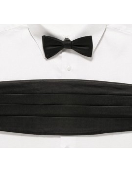 Formal Black satin polyester cummerbund bow tie mens boys May Prom masquerade ball menswear accessory DQT