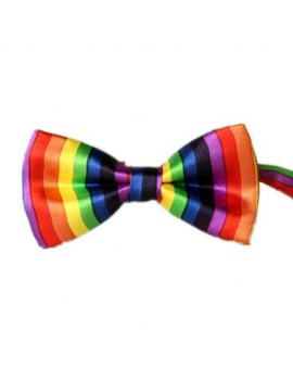 Formal Gay Pride Rainbow Striped Bow Tie  LGBT Masquerade  ball menswear accessory 63936