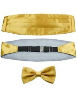Formal Gold satin polyester cummerbund bow tie mens boys May prom masquerade ball menswear accessory DQT