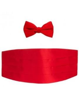 Red satin polyester cummerbund bow tie  DQT 7686