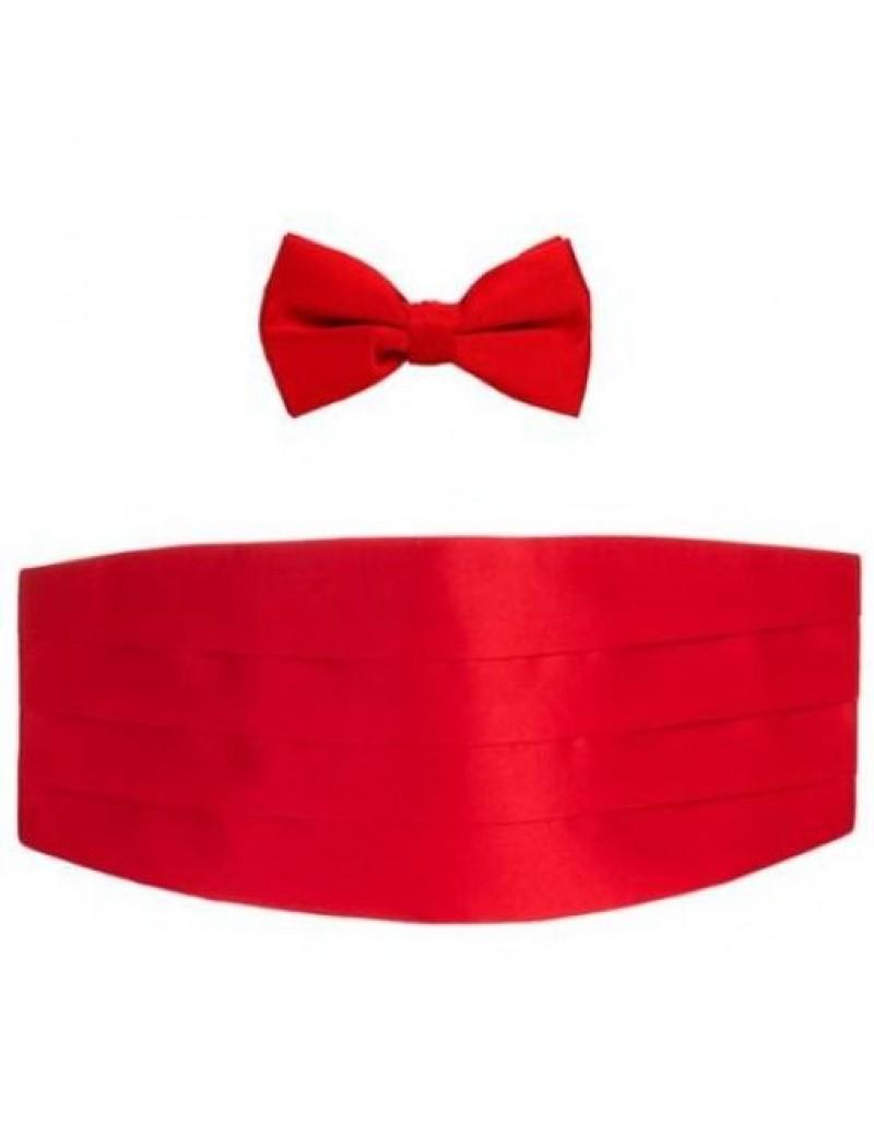 Bow Tie And Cummerbund Set Red DQT 7686
