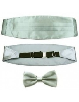 Bow Tie And Cummerbund Set Silver Grey DQT