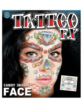 Face Candy Skull temporary tattoo Tinsley Transfers FC-501