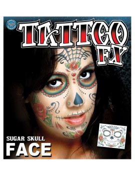 Face Sugar Skull temporary tattoo Tinsley Transfers CT412