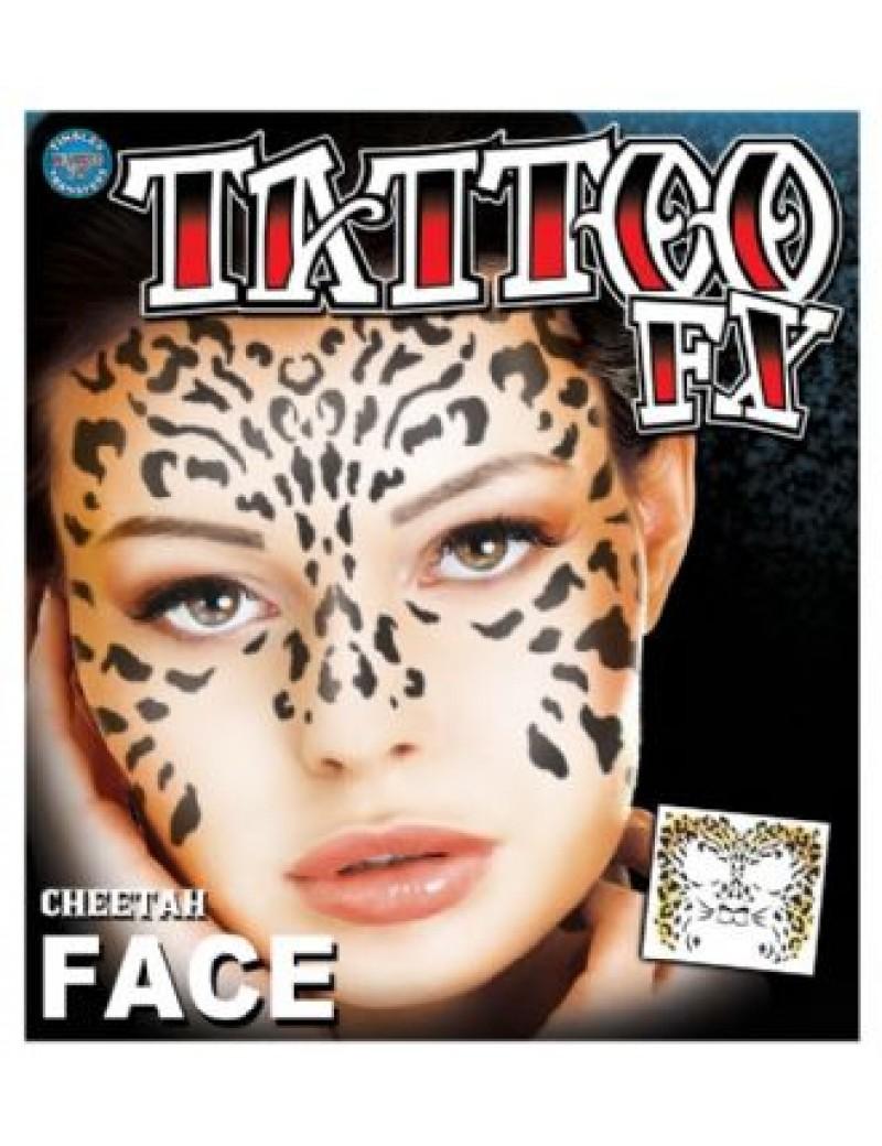 Face Cheetah temporary tattoo Tinsley transfers FC-500