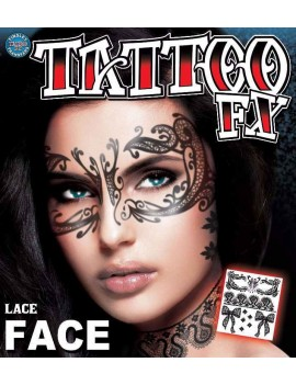 Face lace temporary tattoo Tinsley Transfers FC-503
