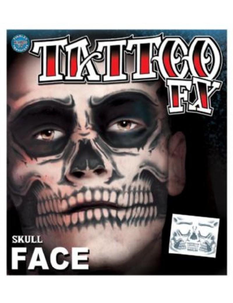 Face Skull temporary tattoo Tinsley Transfers CT-411