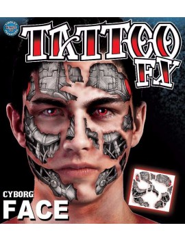 Face Cyborg temporary tattoo Tinsley Transfers FC-505