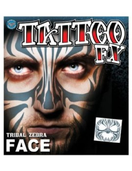 Face Tribal Zebra temporary tattoo Tinsley Transfers FC-502