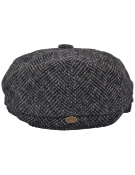 G&H herringbone grey charcoal newsboy Peaky Blinders style 1940s  cap with extension GN220/EXT