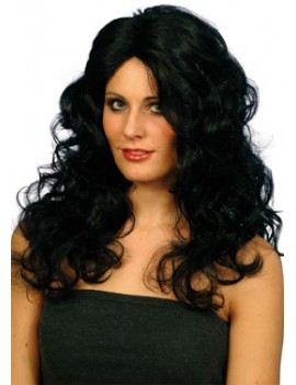 Glamour long wavy  costume party  vampiress Captain Hook mens Eurovison Phoenix wig black Smiffys 42149