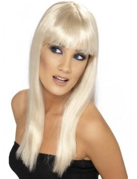 Glamourama ladies 70s 80s Abba fancy dress costume party wig long fringed blonde Smiffys 42154