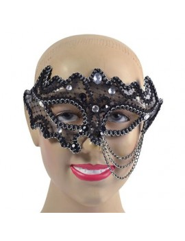 Glasses frame black silver masquerade costume ball  eye mask with chains  Bristol Novelty EM690