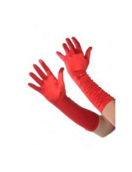 Gloves red polyester satin  ruffle ladies long gloves flapper Gatsby    accessory A6185R