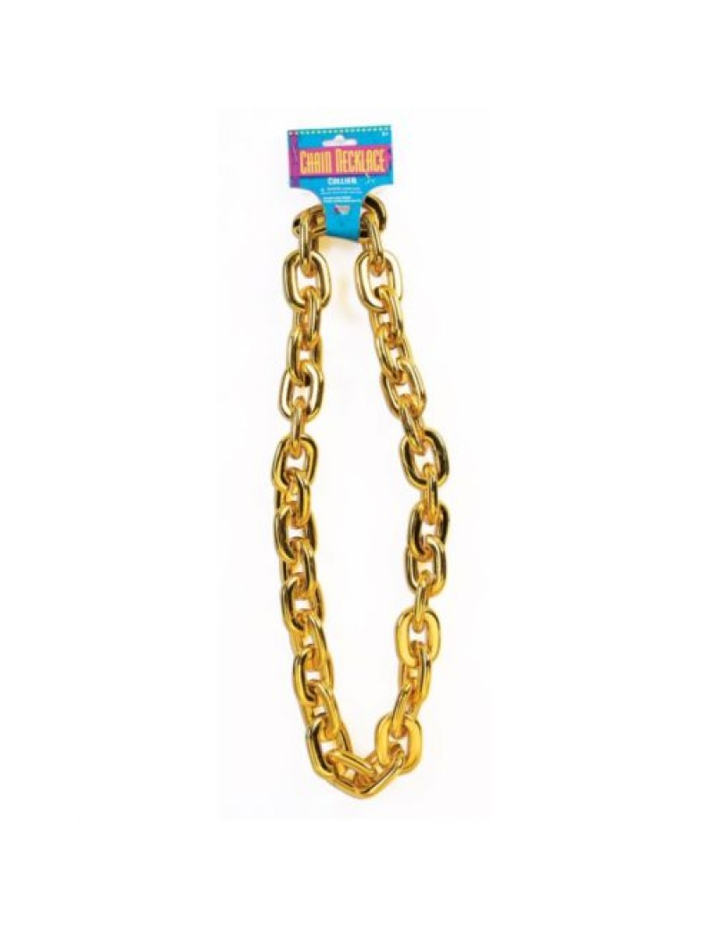 Gold bling thick metal chav jumbo chain fancy dress  costume party jewellery Bristol Novelty X76879