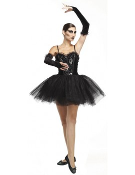 Gothic ballerina black swan ladies tv film Halloween fancy dress party costume Seasonal Visions International 3244B