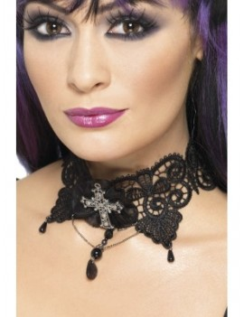 Gothic Manor Beaded Lace Choker