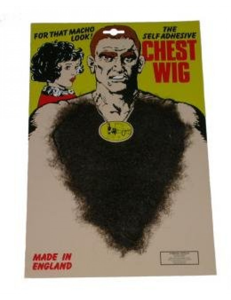 Hairy chest hair pimp werewolf fur dark brown mens 70s Elvis retro fancy dress costume party Steptoes 2241304