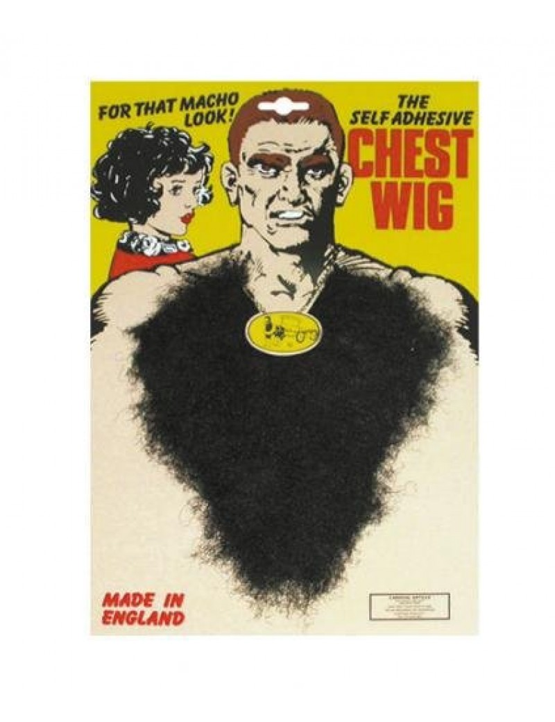 Hairy chest hair werewolf fur false self adhesive 70s retro fancy dress costume party accessory black Pams Of Gainsborough 2241301