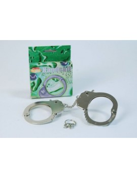 Handcuffs with key metal die cast  police cop prisoner convict accessory Bristol Novelty GJ104