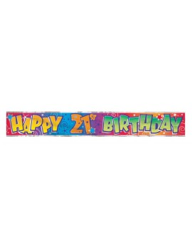 Happy Birthday 21st holographic foil room hall decoration partyware banner garland Unique 90021