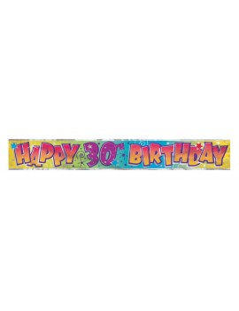 Happy Birthday 30th foil holographic room hall  partyware decoration banner garland Unique 90023