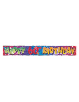Happy Birthday 60th foil holographic room hall  decoration party banner garland Unique 90026