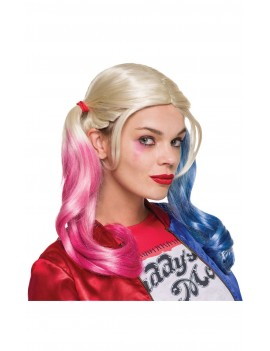 Harley Quinn blonde pigtails style pink blue fancy dress costume party Superhero villain wig Rubies 33608