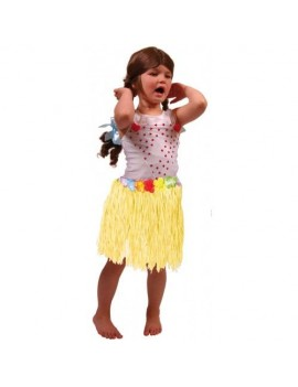 Hawaiian hula grass skirt yellow  30cm kids Folat FO-20500