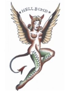 Pin up hellbomb temporary tattoo Tinsley Transfers PU707
