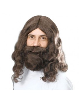Hippy Hippie  60s Jesus mens retro costume wig and beard set Bristol Novelty BW581