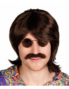 Hippy Hippie 60s mens brown wig moustache festival party Boland 4329A