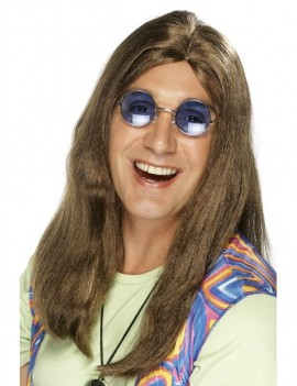 Hippy Neil no fringe costume wig mens ladies brown Smiffys 42217
