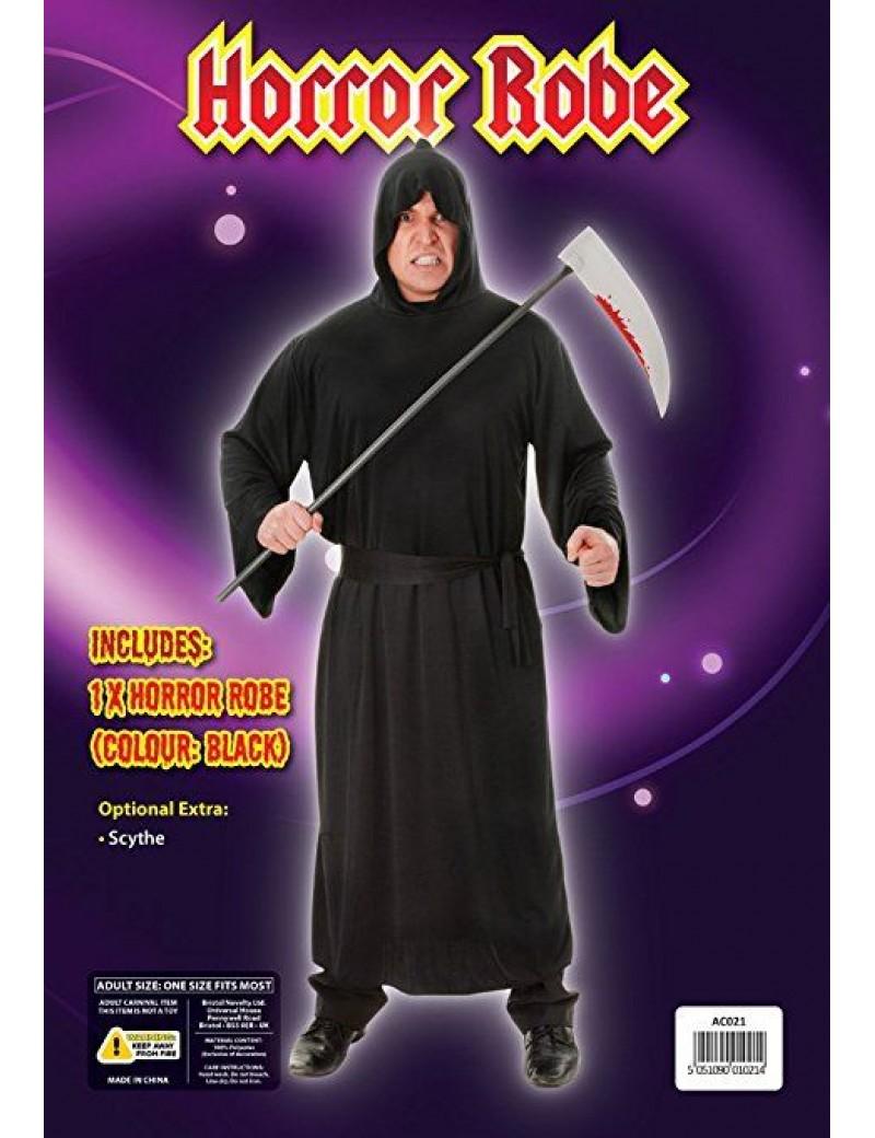 Horror robe mens Grim Reaper  Halloween party hooded black costume black Bristol Novelty AC021