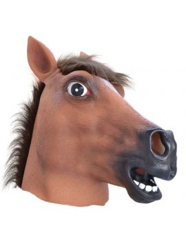 Horse full over head rubber mens fancy dress costume party mask deluxe Bristol Novelty BM160A