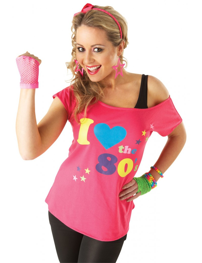 I love the 80s fancy dress  costume party pink  t shirt  top Rubies 880873