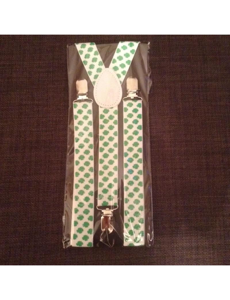 Irish shamrock clover leaf mens clip on  Braces  St Patricks Day  Party 72497