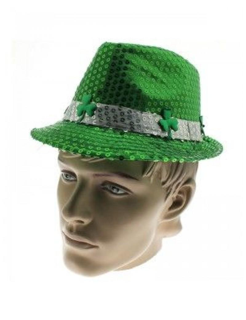 Irish St Patricks Day green Sequin Shamrock clover  leaf  prop trilby  hat 76007