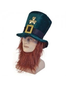 Irish St Patricks day  party Leprechaun top hat with beard Henbrandt 18796