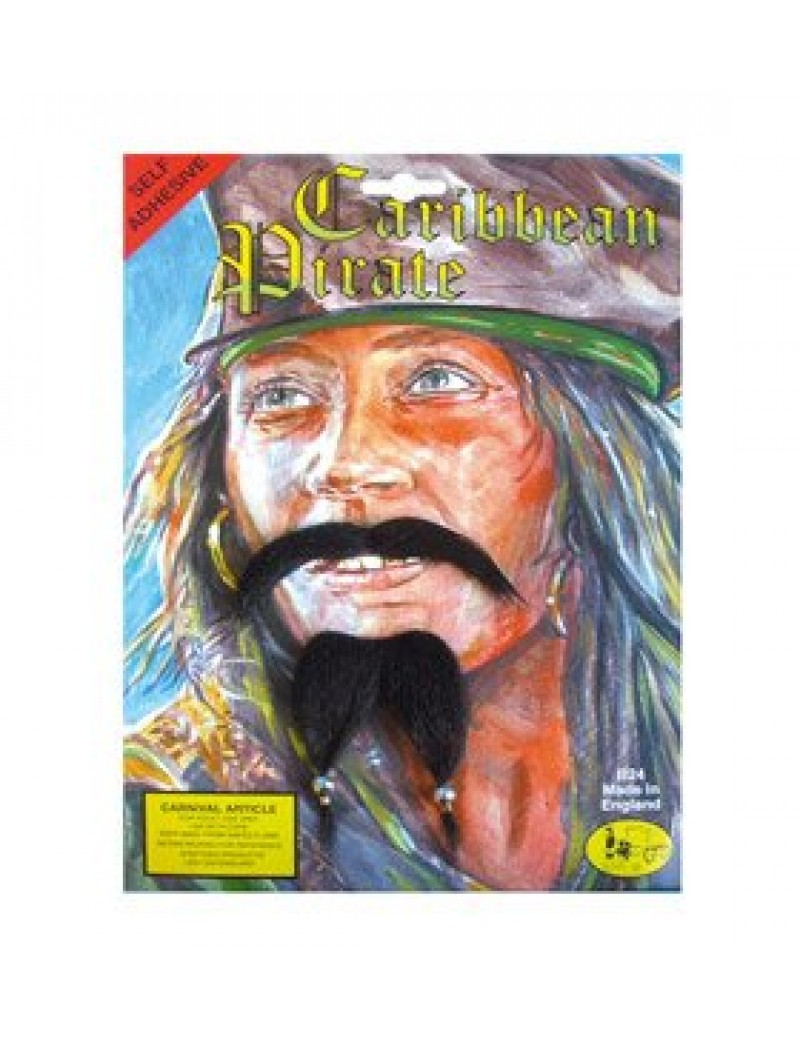 Jack Sparrow Caribbean Pirate fancy dress costume party mens moustache and beard self adhesive set Steptoes MB077