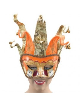 Jester orange gold venetian masquerade fancy dress costume ball headband mask Bristol Novelty EM234